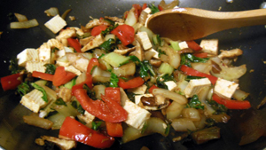 Bok Choy Stir-Fry with Red Peppers and Shitakes